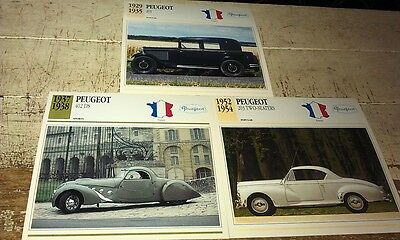 PEUGEOT  Cars  Colour Collector Cards x 3