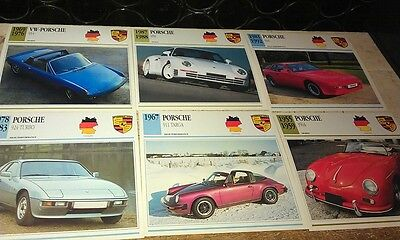 PORSCHE ROAD  Cars  Colour Collector Cards x 6