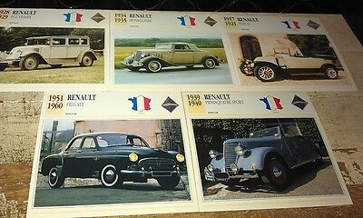 RENAULT   Cars  Colour Collector Cards x 9