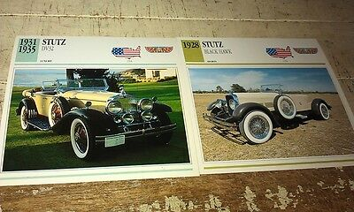 STUTZ  Cars  Colour Collector Cards x 2