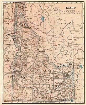 1917 Antique  IDAHO  Map  Beautiful Vintage State Map of Idaho Pretty COLOR 1428