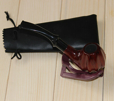 NEW gift!High-quality hand-crafted mahogany WOODEN smoking pipe+stand+pouch set