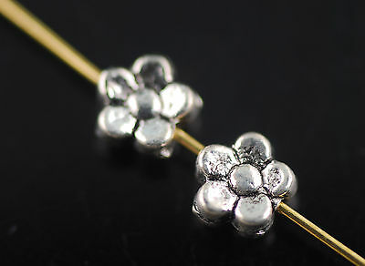 Wholesale 35pcs Antique Silver Metal Flower Beads 5.5mm Spacer Jewelry Findings