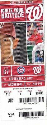 2012 Washington Nationals Vs Chicago Cubs 9/5 Ticket Stub Bryce Harper 2 Hr Hr's