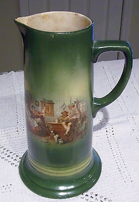 Lovely Antique MORRIS WILLMORE Trenton NJ Large Green Pottery Tankard w/ Scene