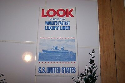 SS UNITED STATES (US) VERY RARE DECK PLAN with CUT AWAY