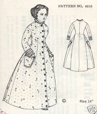 """14""""ANTIQUE FRENCH FASHION LADY/CHINA HEAD/PARIAN DOLL MORNING DRESS PATTERN"""