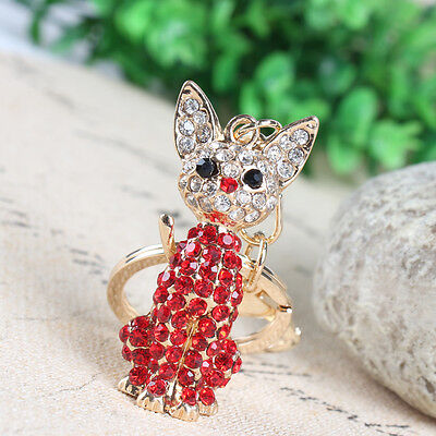 Lovely Cat Red Charm Pendant Rhinestone Crystal Purse Bag Key Ring Keychain Gift