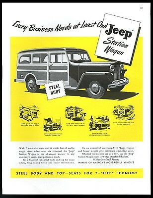 1947 Willys Overland Jeep Station Wagon every business needs one print ad