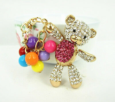 Bear Hot Pink Belly Arm Move Bead Cute Swarovski Crystal Purse Bag Keychain Gift