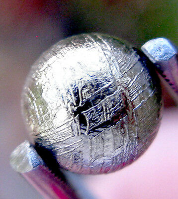 SOLID Gibeon Iron Meteorite BEAD PLATED ROUND Drilled Etched WIDMANSTATTEN beads