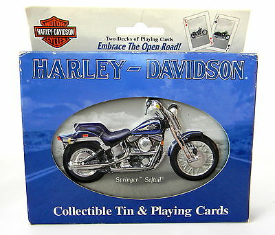 Harley-Davidson Collectible Tin and Playing Cards Two Decks