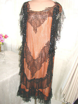 Vintage 20s Flapper DECADENT DANGLING BEADS Dress Silk  S BLACK LACE Netting