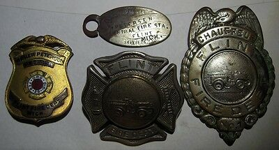 1920s-30s Flint Michigan Fire Badge Lot - Breast & Hat Badges & Retired Badge