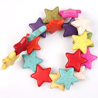 1string Mixed Star-Shaped Pentagram Gemstone Turquoise Straight Hole Beads LC