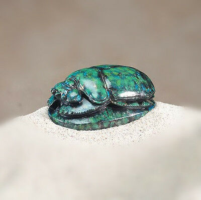 ANCIENT EGYPTIAN GREEN SCARAB.w/BOTTOM HIEROGLYPHS FIGURINE COLLECTIBLE