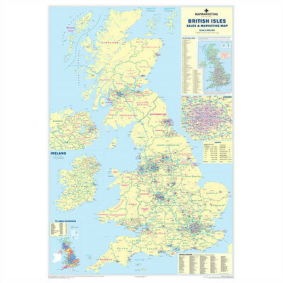 *brand New* Giant Laminated Sales & Marketing Wall Poster Map Of Uk Britain Ukm