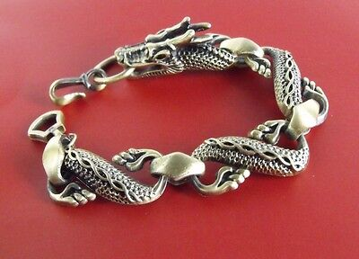 New!! exquisite Chinese Dragon Antique Brass Bracelet Chain  7.5""