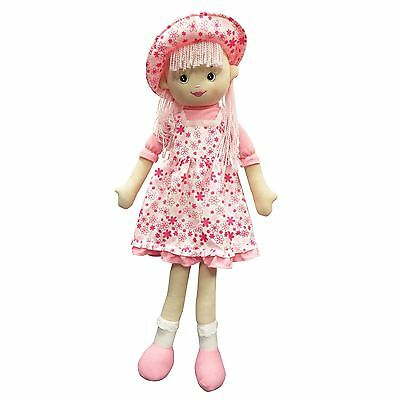 """43"""" Giant Large Big Stuffed Rag Doll Plush Toy Girls Pink Summer Hat Party Gift"""