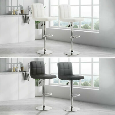 Black/white Leather Allegro Style Gas Lift Bar Stool Breakfast Kitchen- (2 Pack)