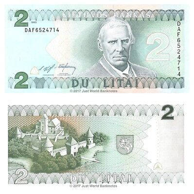 Lithuania 2 Litai 1993 P-54 Mint UNC Uncirculated Banknotes