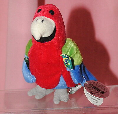 Coca Cola 8 inch Brazil Parrot Beanie /  bean bag soft toy
