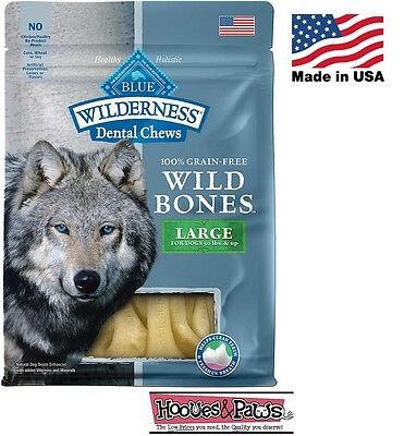NATURAL Blue Buffalo WILDERNESS LARGE Dental Dog Treats Grain Free MADE IN USA