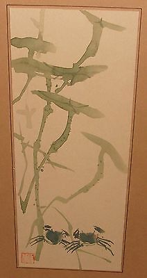 Old Japanese Bamboo And Crabs Original Watercolor Painting Signed