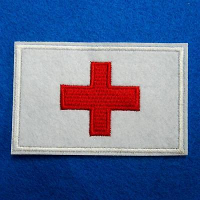 Cross Iron on Sew on Patch Embroidered Applique Biker Badge Rock Nurse Cute Red