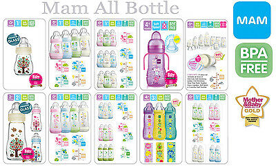 MAM All Bottles (Anti-Colic,Baby,Glass & Trainer Bottle/Starter Set 15 / 23 Pcs)