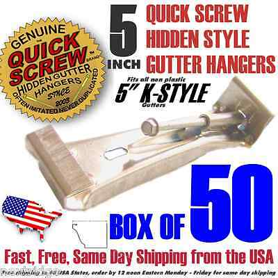 "5"" inch Gutter Hanger Bracket includes Screw  K Style with clip box of 50 Strong"