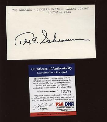 Tex Schramm Signed Index Card PSA/DNA