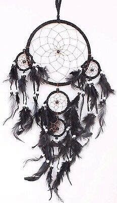 Black Handmade Dream Catcher With Leather Feather Home Car Wall Decor ( QTY 2 )