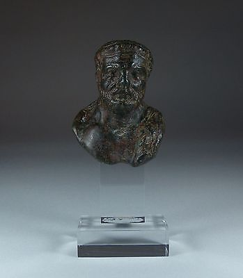 ANCIENT ROMAN BRONZE BUST 1ST/2ND CENTURY AD