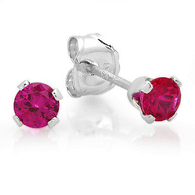 925 Sterling Silver Stud Earrings 3 mm Round Cut Cubic Zirconia Pink Color
