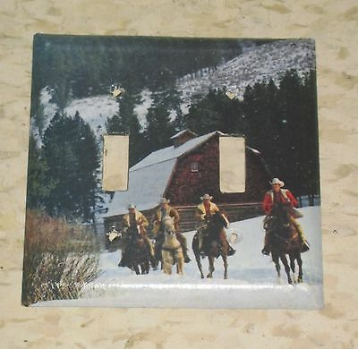 Vintage Cowboys On Horseback Riding On The Ranch 2 Hole Light Switch Cover Plate