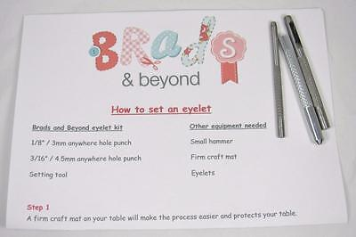 "BB EYELET KIT eyelet setter / hole punch for 1/8"" and 3/16"" eyelets scrapbooking"