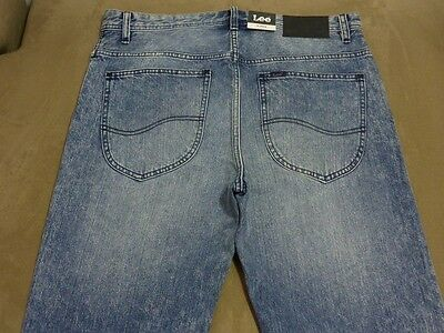 055 Mens Ex-Cond Lee Lo Slung Wasted Blue Wash Jeans Sze 32 $170 Rrp.