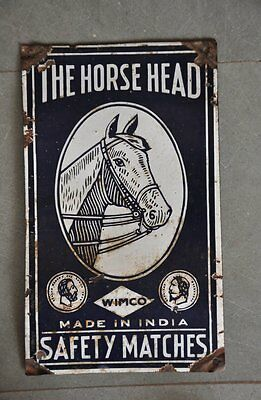 Vintage ' The Horse Head ' Brand Safety Matches Ad Porcelain Enamel Sign Board