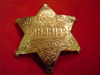 Badge: Sheriff, brass star, engraved, Lawman, Police, Old West