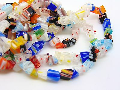 1 x Strand Mixed Colour Millefiori Chips Nuggets Approx 6mm Approx 150 + PCS N91