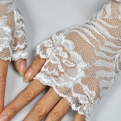 TRIXES White French Maid fingerless Gloves