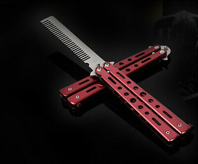 New Metal Practice Balisong Butterfly Comb Knifes Trainer Tool Red K126