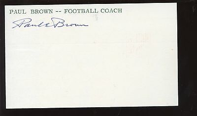 Paul Brown Autographed Index Card Hologram