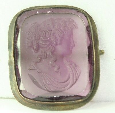Victorian Antique Brass Purple Glass Cameo Pin