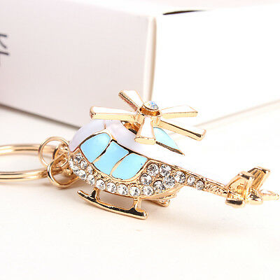 New Blue Plane Helicopter Charm Pendant Crystal Purse HandBag Keyring Chain Gift