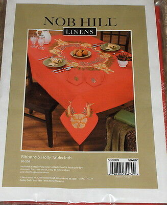 "Nob Hill Christmas ""Ribbons & Holly"" Stamped Cross Stitch Tablecloth NIP 50x68"""