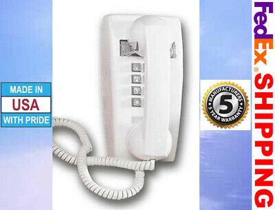 Retro White Push Button Corded Wall Phone Basic Telephone Vintage Style New