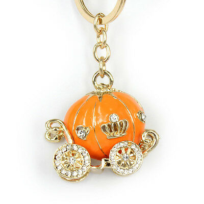 Lovely Orange Pumpkin Carriage New Pendent Charm Crystal Key Ring Halloween Gift