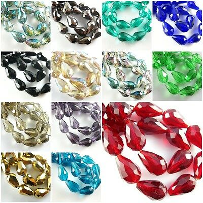 20Pcs Faceted Glass Crystal Finding Teardrop Spacer Loose Beads 10x14mm FREE